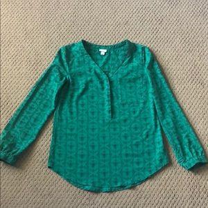 Merona blouse, size XS. Green and black.